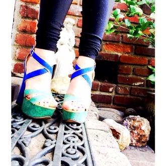 shoes blue wedges stella hudgens