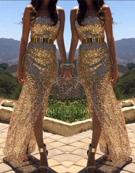 Shining sequins hot strapless dress