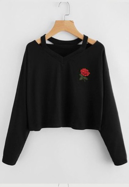 sweater shirt off the shoulder black rose floral romwe hoodie cotton teenagers