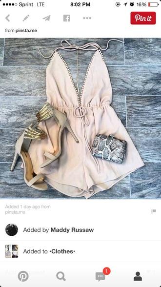 romper pink pink dress style v neck dress deep v neck dress classy sexy dress shoes