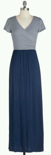 dress long stripes navy blue dress short sleeve