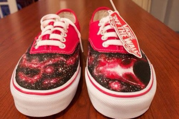stars shoes vans galaxy red amazing vans off the wall