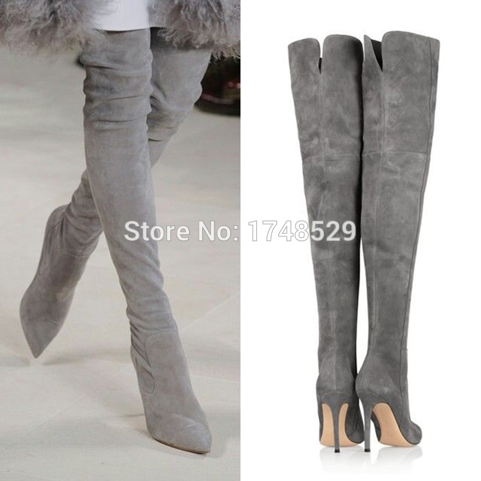 Fall Women Pointed Toe High Heel Thigh Heel Boots Gray Suede Ultra ...