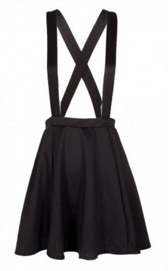 strappy skirt skirt overalls high waisted skirt suspenders black
