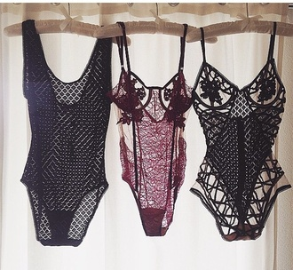 underwear sexy lingerie girly love girl chic fancy sexy lingerie black bodysuit bodysuit burgundy