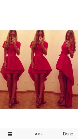 dress red dress high low dress