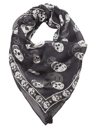 skull chiffon women scarf black silk