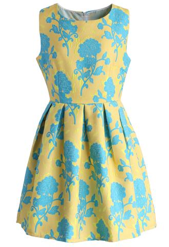 dress oriental floral jacquard dress in yellow chicwish oriental dress floral dress jacquard dress yellow dress summer dress