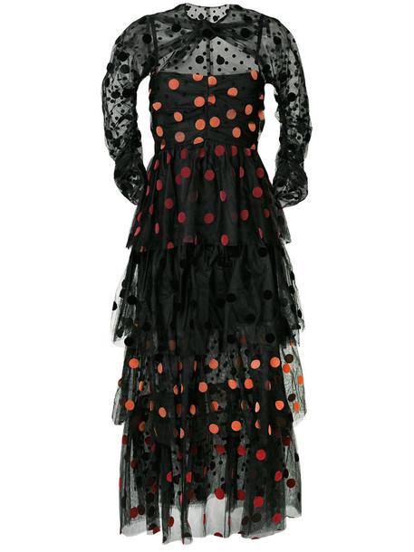 ISA ARFEN gown women black silk dress