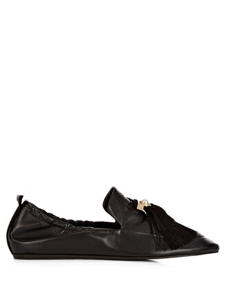 ballet tassel pearl embellished flats ballet flats black shoes