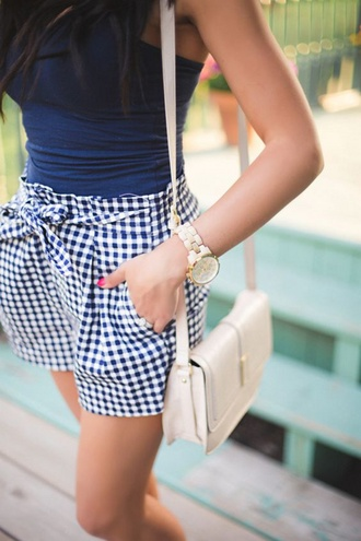 shorts tumblr gingham bag white bag watch gold watch jewels