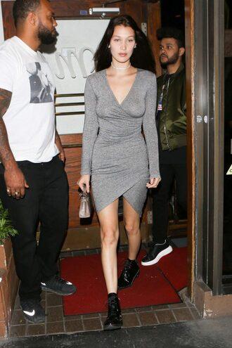dress grey grey dress bodycon dress asymmetrical dress bella hadid model off-duty wrap dress