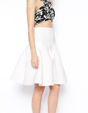 ASOS Petite | ASOS PETITE Premium Pleated Deep Waistband Midi Skirt In Scuba at ASOS