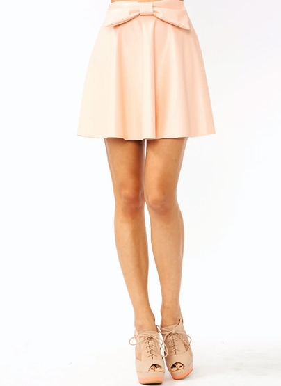 Faux Leather Bow Skirt $33.20 in BLACK PEACH - Skirts | GoJane.com