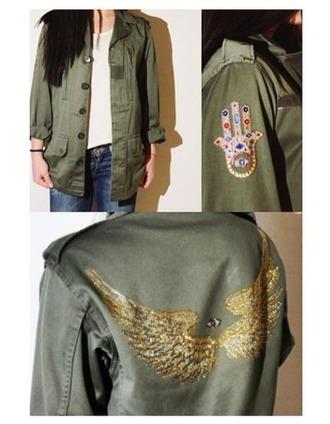 jacket military stylish wings hamsa trendy rhinestones shirt outwear