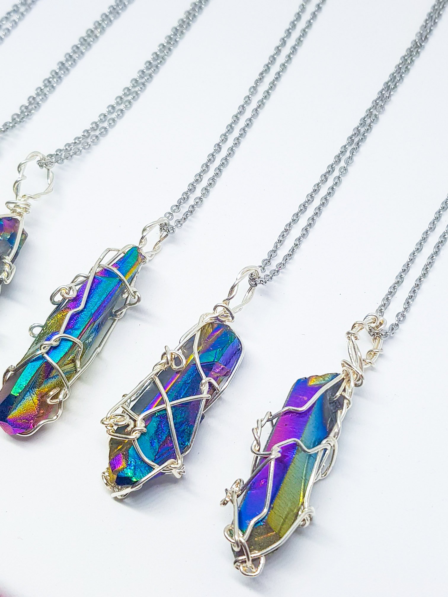 Rough Rainbow Titanium Quartz Point Necklace - Silver Wire Wrapped - Rainbow Aura - 925 Silver Snake or Curb Chain - Gift ideas for women