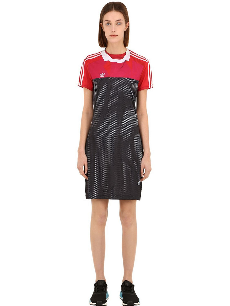 ADIDAS ORIGINALS BY ALEXANDER WANG Printed Tech Mini Dress in black / pink