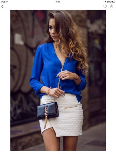shirt blue skirt white blouse kenzas quilted skirt bag