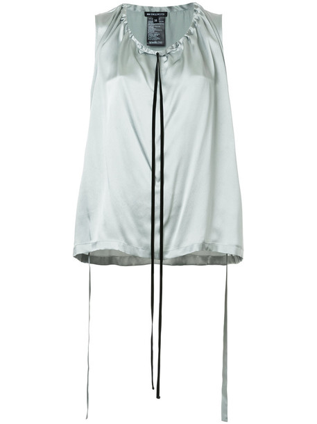 ANN DEMEULEMEESTER top sleeveless women drawstring silk grey