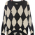 Black White Rhombus Hair Bulb Pullovers Sweater - Sheinside.com