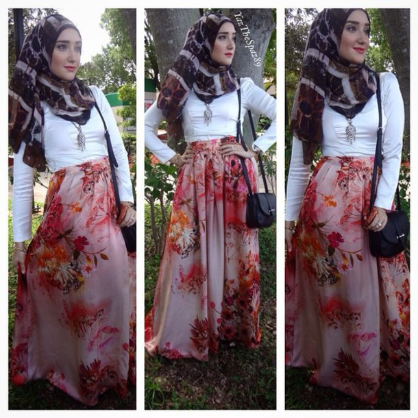 dress scarf flower skirt white top
