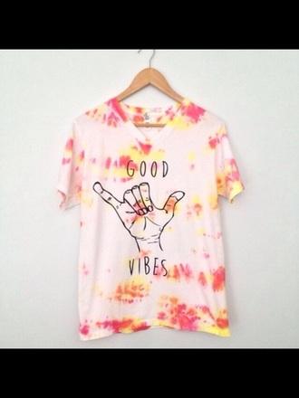 t-shirt hipster dip dyed vibrant good vibes good vibes shirt tie dye