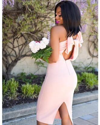 dress sexy dress open back open back dresses backless backless dress sexy pink dress date outfit bow bow dress