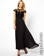 Asos petite exclusive maxi dress with lace top and velvet contrast at asos.com