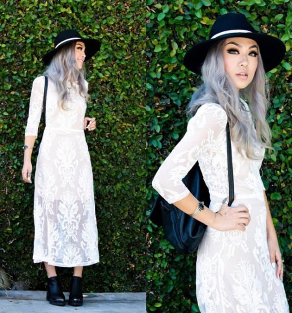 white dress see through dress elegant dress swag party dress