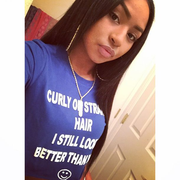 straight hair teyana taylor graphic tee rio_victoriaa black funny cute black girls killin it eyebrows on fleek eyebrows make-up girly instagram famous full lips earrings necklace shawty summer time fine cutie shirt