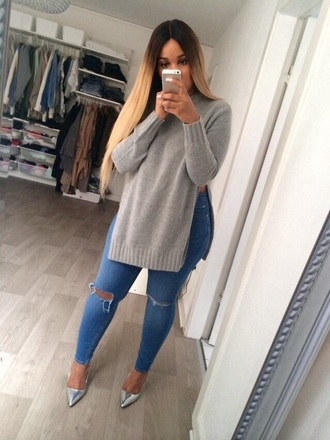 slit grey sweater fall sweater grey knitted sweater sweater whole outfit