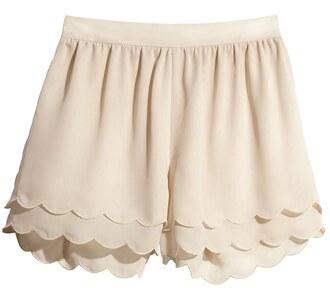 shorts scallop shorts scalloped high waisted shorts cream shorts
