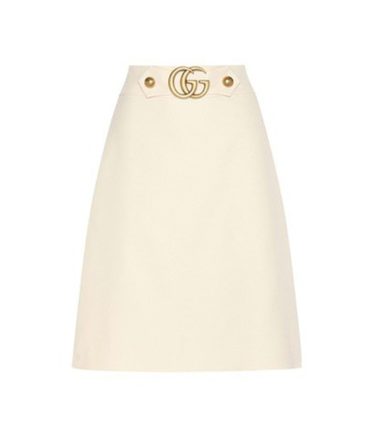 gucci skirt silk wool white