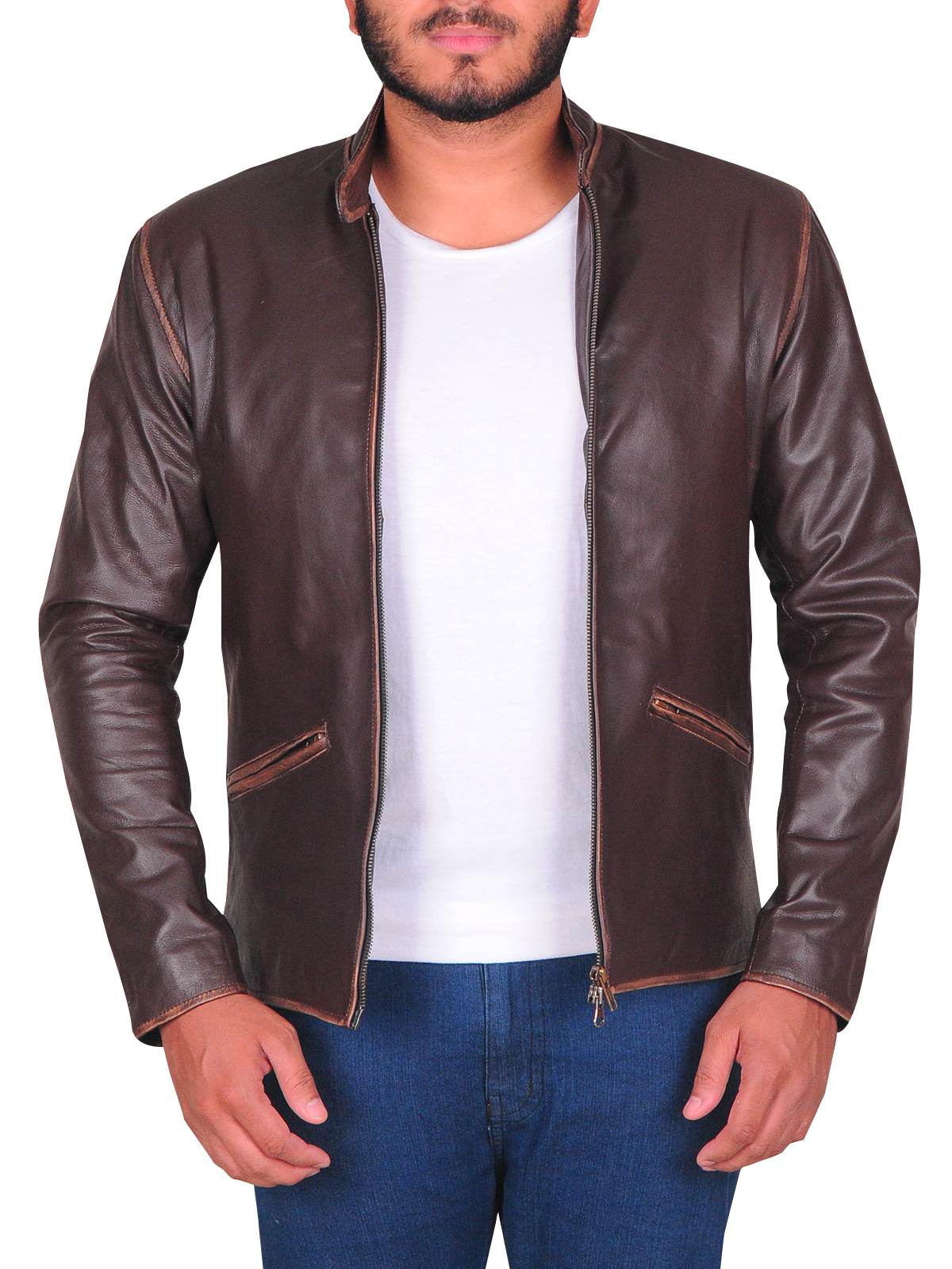 Dark Brown Slim Fit Men Leather Jacket | Men Jackets | MauveTree