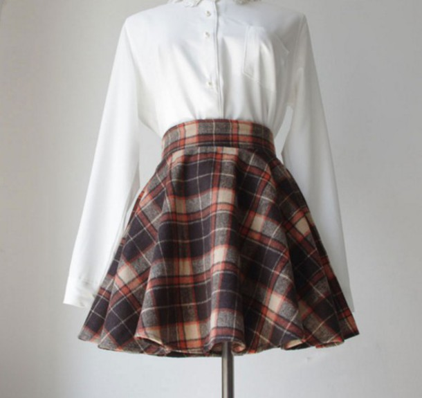 Brown Plaid Skirt - Dress Ala
