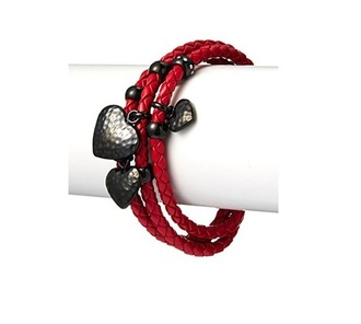jewels heart heart bracelet dope dope wishlist amazon leather bracelet s black heart s love red bracelet myhabit triple strand red leather liv oliver chloe