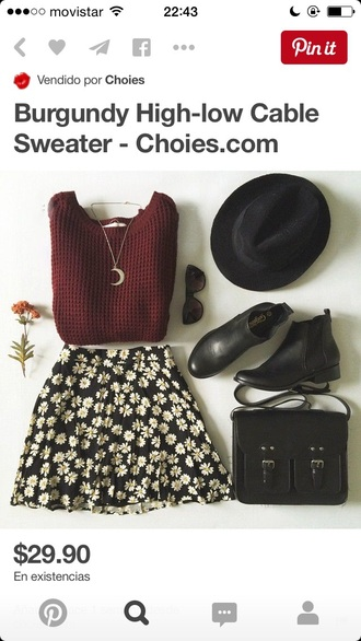 hat skirt sweater jewels bag