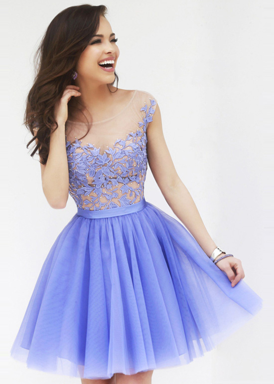 Periwinkle Sheer Floral Top Layered Tulle Prom Dress 2015 [Sherri Hill  11171 Periwinkle] - $178 00 : The Last Fashion Prom Dresses 2015 Online For