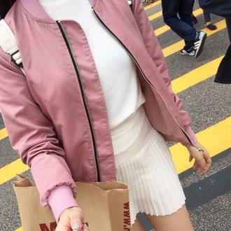 jacket bomber jacket tumblr baby pink pink jacket