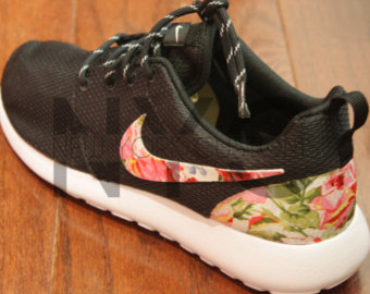 huge discount 0532f 56fb3 best price nike roshe run black white bushel of roses floral print custom  men womens f8f1c