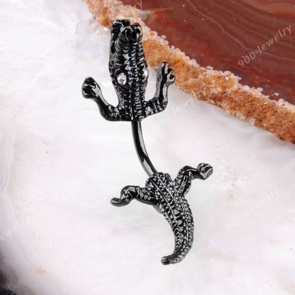 jewels crocodile black stoned belly button ring