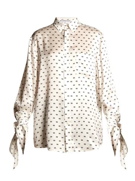 Balenciaga blouse print satin white black top