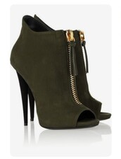 shoes,olive green,peep toe boots,ankle boots,high heels boots