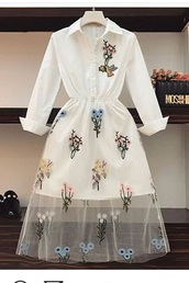 dress,white 3/4 sleeve dress,button down,embroidered tulle with flower pattern,bird on right side,collared dress
