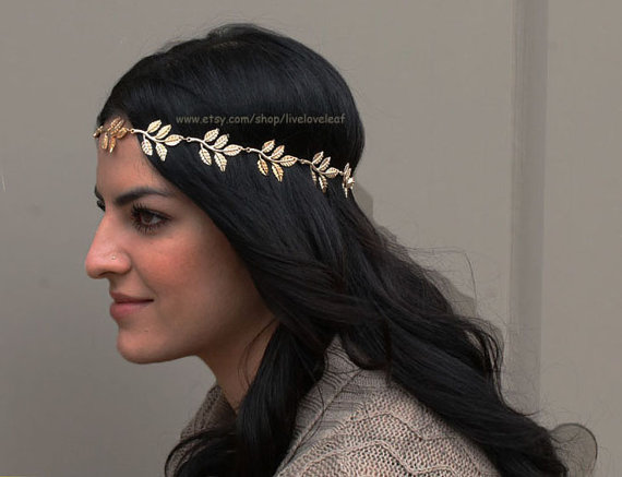 SALE Gold Leaf headband Greek leaf with black by LiveLoveLeaf