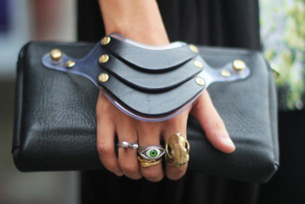 black leather clutch bag jewels