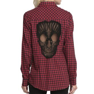 top plaid grunge skull lace black red casual