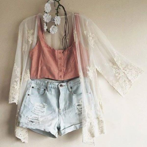 cardigan shorts tank top flower crown ripped shorts white pink blue floral pattern shirt