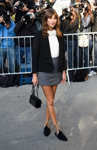 shoes blouse alexa chung fashion week 2014 chanel babouche babouches black babouches skirt mini skirt grey skirt top white top black blazer blazer bag black bag
