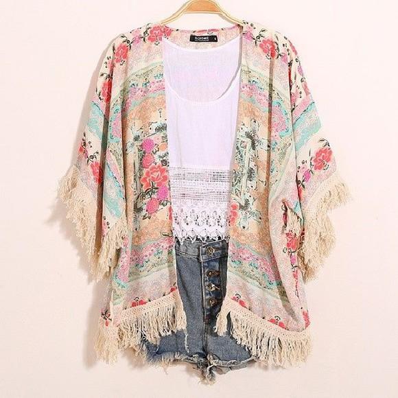 hippie boho festival cardigan kimono floral denim shorts